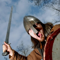 """For Enbrief........................Kendall Kinrade of """"Y'Ddraig"""" vikings group, at Cellarhead environment centre's open day. Pic by martinneeves.com D174A/182"""