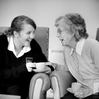 Duke of Edinburgh Award Scheme candidate Emily Farrell (15) with Marion Butterfield, resident of Lavender Court, Ampthill, Bedford. Photography by Martin Neeves Photography - www.martinneeves.com - Tel: +44 (0)7973 638591 - E-mail: martinneeves@googlemail.com