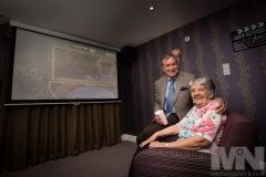 Resident Brenda McMahon with Emmerdale actor John Middleton in the cinema at Kiwi House care home in Derby. Photograph by Martin Neeves Photography - www.martinneeves.com - Tel: +44 (0)7973 638591 - E-mail: martinneeves@googlemail.com