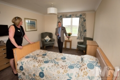 Emmerdale actor John Middleton talks to home manager Debra Meynell at Kiwi House care home in Derby. Photograph by Martin Neeves Photography - www.martinneeves.com - Tel: +44 (0)7973 638591 - E-mail: martinneeves@googlemail.com