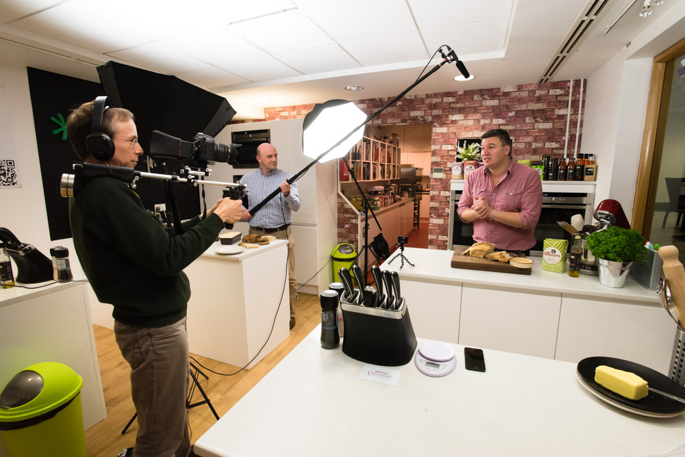 Videographer Martin Neeves filmes a cookery video of TV chef Peter Sidwell